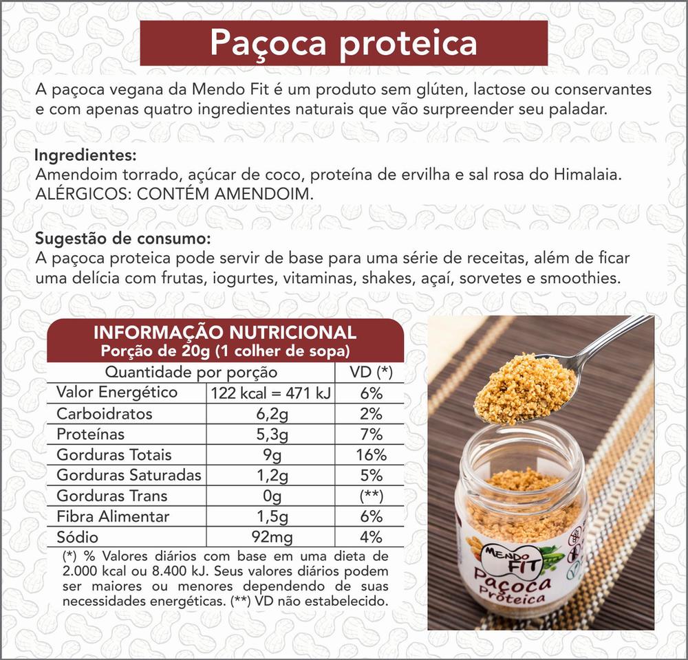 Informações Nutrcionais Paçoca Proteica Mendofit