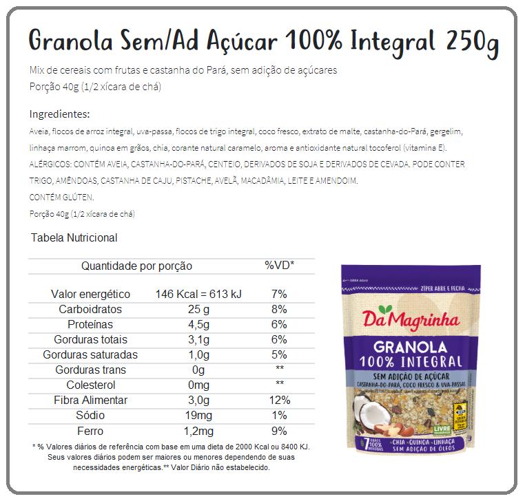 Rótulo Granola Da Magrinha
